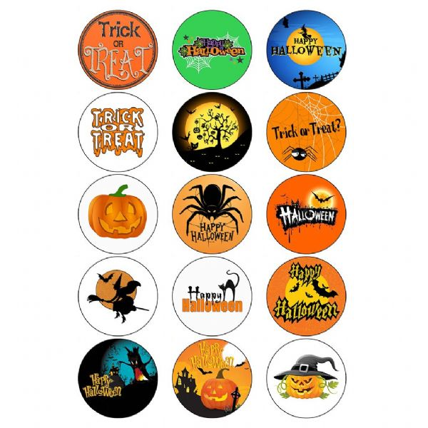 HAPPY HALLOWEEN EDIBLE CUPCAKE TOPPERS